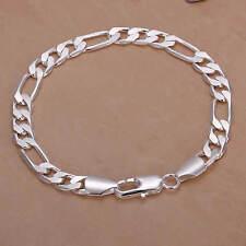 Bracelet maille figaro de plaqué argent 925 20 cm 8mm mixte homme femme