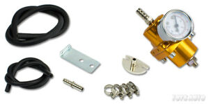 Rev9 Universal Turbo Fuel Pressure Regulator + Gauge w/ Hose Gold