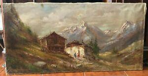 Vecchio quadro -Olio su tela -  paesaggio di montagna
