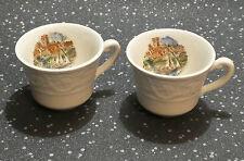 CROWN DEVON MINIATURA COPPIA TAZZE da caffè inglese River Scene S. Fielding England