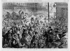 CHICAGO 1871 GREAT FIRE PANIC STRICKEN CITIZENS RUSHING PAST THE SHERMAN HOUSE