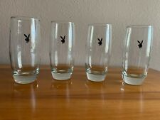 Vintage Playboy Bunny Club Drinking Glasses Set of 4 Hugh Hefner Hollywood Glam