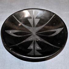 "Small Maria Martinez & Santana San Ildefonso Pueblo Black-on-Black Plate, 6"""
