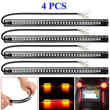 4pcs LED Motorcycle Scooter Brake Turn Signal Tail License Plate Light Strip Bar