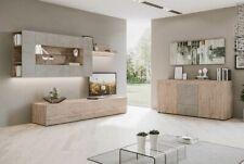 Parete attrezzata mobile porta TV sala da pranzo soggiorno quercia e grigio