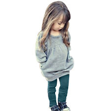 1Set Baby Kids Girls Outfit Clothes Winter Warm Long T-shirt +Long Pants 130 US