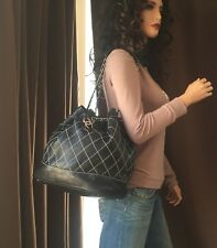 Auténtico Chanel Negro Piel de Cordero Salvaje Stitch Cadena de Plata Grande