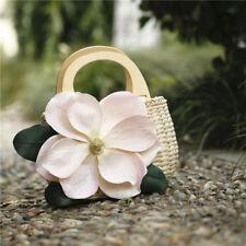 Women Straw Bag Beach Handbag Pocket Shoulder Bag Flower Rakish Travel