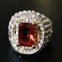 Yellow Gold Filled Women Red zircon Fashion Size 7-10 18K  Rings Jewelry Wedding