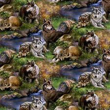 Wild Wings Lazy Afternoon Wolf Family Large Wolves Cotton Fabric Fat Quarter