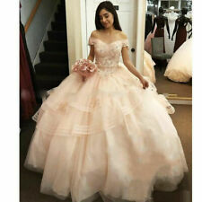 Champagne Off Shoulder Beaded Quinceanera Dresses Lace Appliques Tulle Ball Gown