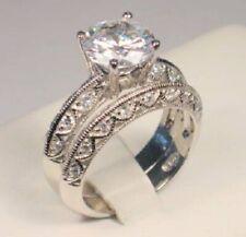 3.30 Ct Round cut Diamond Solitaire Vintage Engagement Ring set White Gold ov