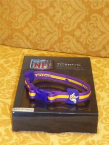 """Titanium Sport Bracelet 8.5"""" Minnesota Vikings NFL Football New in Box NIB $30"""
