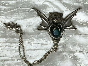 Antique Ethnic Silver Brooch - Lion with Bat wings, Snakes holding Jade stone