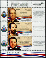 HERRICKSTAMP NEW ISSUES COSTA RICA Legacy of Independence Sheetlet