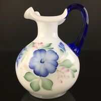 Fenton Glass White Pitcher Hand Painted Blue Flowers Optic Handle