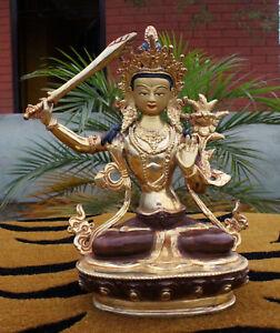 "Partly Gold Plated Male Bodhisattva Manjushri Statue 8"" High-SSST317"