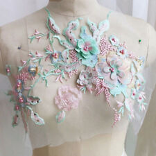 3D Flower Embroidery DIY Lace Bridal Applique Beaded Pearl Tulle Wedding Dress H