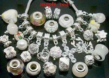 20pcs mixed White/Clean Charm Beads Fit European Bracelets DIY Jewllery Gift