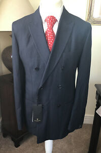 Massimo Dutti Navy Size 44 In Chest Blue Italian D/Breasted Jacket