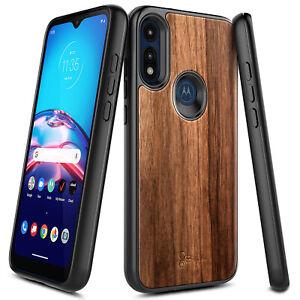 For Motorola Moto E 2020 Case Premium Walnut Wood Shockproof Bumper Phone Cover