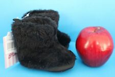 Stepping Stones Infant Baby Fluffy Plush Winter Boots~Size 2~Booties~Black~