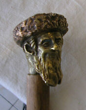 A Beautiful Walking Stick With A Bronze Handle Showing A Jewish Religious Head