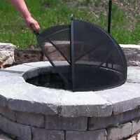 "Easy Access Hinged Spark Screen 7 Sizes 22"" - 40""  Fire Pit or Fire Ring"