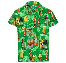 MENS HAWAIIAN SHIRT BEER BOTTLE THEMED PARTY HOLIDAY BEACH FANCY DRESS STAG DO