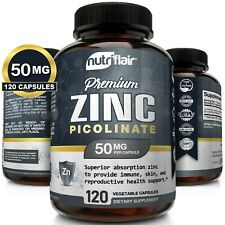 NutriFlair Zinc Picolinate 50mg, 120 Capsules - Immune System Booster & Support