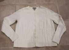 Eddie Bauer Women's Cardigan Cable Knit Sweater Ivory Small S