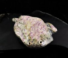 ZMT Zuni Frog Fetish by Ricky Laahty - Natural Purple Stichtite in Serpentine