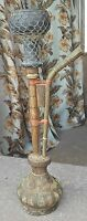 ANTIQUE ORIGINAL RARE HAND CRAFTED WOODEN HOOKAH WITH BRASS FITTINGS