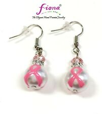 Pink Ribbon Breast Cancer Awareness Pearl Classic Glass Dangle Earring New