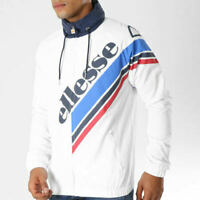 Ellesse Mens Strippio Track Top Jacket Logo White Navy Blue