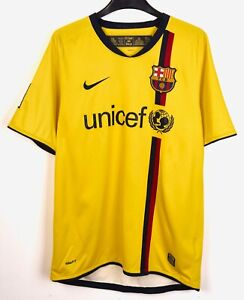 BARCELONA FC Away 2008 2009 Shirt S Mens Jersey Nike Yellow Soccer Kit Barca Tee