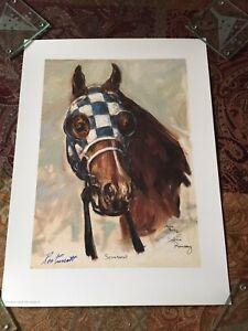 Horse Racing Print Secretariat signed by Artist Salina Ramsay & Ron Turcotte