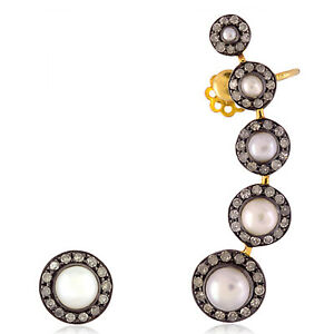 3.8 ct Pearl Pave Diamond 18 kt Gold .925 Sterling Silver Cuff Earrings Jewelry