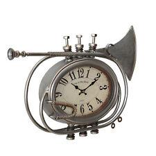 [en.casa]® Wanduhr Trompete Metall Dekouhr Uhrwerk Design Uhr Analog Wanddeko