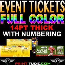 """250 Event Tickets 14PT THICK 2""""x5.5"""" Full Color 2 x 5.5 With Numbering CUSTOM"""