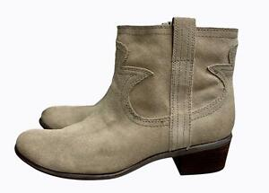 Lucky Brand Terra Suede Boots Brown Western Booties Size 10