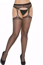 Plus Size Pantyhose Hose Footed Hosiery Suspender Cutout Black Sheer Crotchless