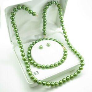 New 14K YELLOW GOLD Stunning Green Pearls STUD EARRINGS BRACELET NECKLACE SET