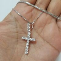 14K White Gold Over Sterling Silver Cz Cross Pendant Charm Chain Necklace