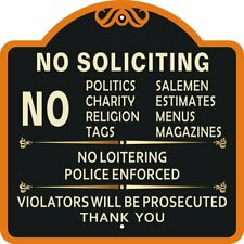 No Soliciting Signs Residential Decorative Premium Quality Outdoor Durable