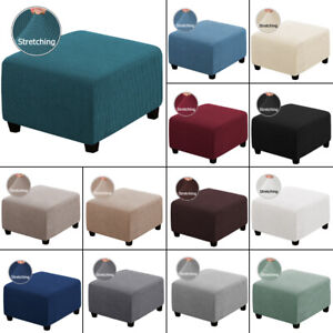 Square Ottoman Slipcovers Stretch Elastic Pouffe Footstool Sofa Protector Cover