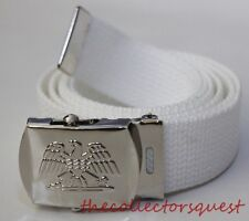 "NEW EAGLE ADJUSTABLE 92"" INCH WHITE CANVAS MILITARY GOLF WEB BELT CHROME BUCKLE"
