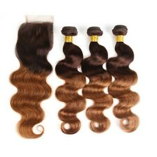 8A 300g/3bundles Unprocessed Malaysian Ombre 4/30 Bodywave Human Hair&closure