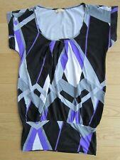 Laura Scott super Long Bluse Shirt Tunika Gr. 38 schwarz weiß lila aktuell NEU