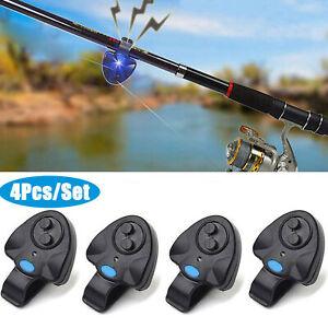 4x LED Electronic Light Fishing Bite Sound Alarm Alert Bell Clip On Fish Rod US